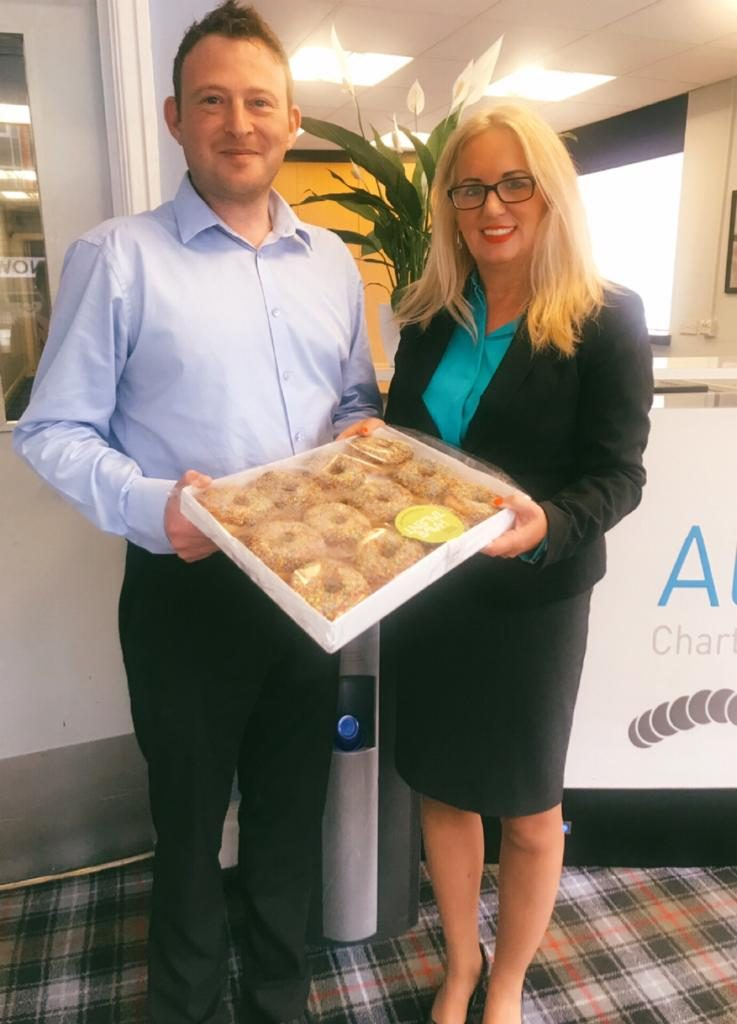 Jacqui stops by Allens Accountants with a tray of doughnuts to celebrate National Payroll Week 2019