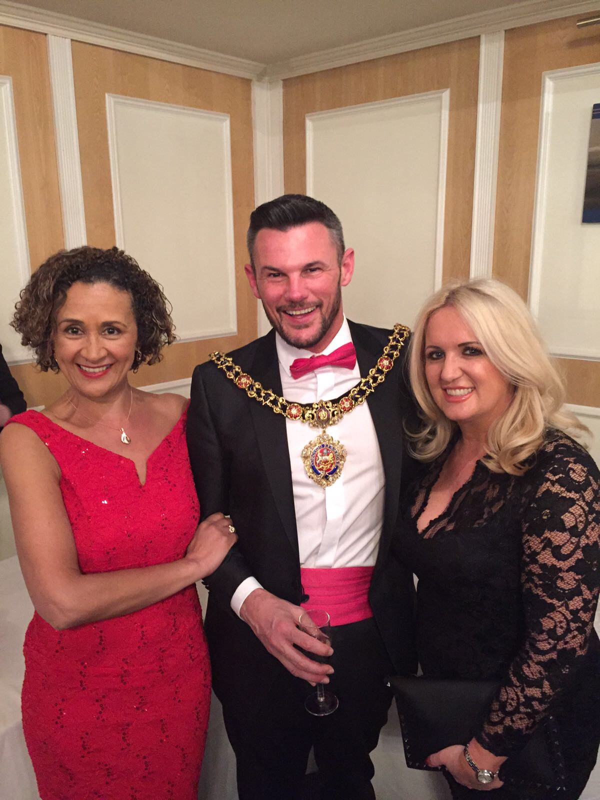Cathy and Jacqui meet Lord Mayor of Manchester at the 2017 Hatters' Ball